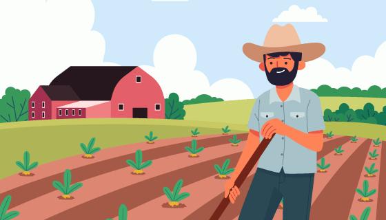 正在种地的农民伯伯矢量素材(AI/EPS)
