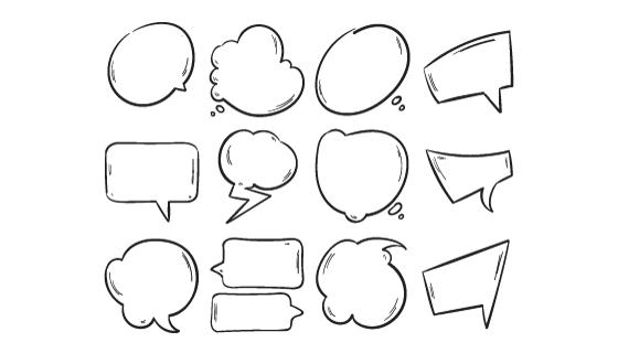 手绘涂鸦气泡集合矢量素材(EPS/PNG)