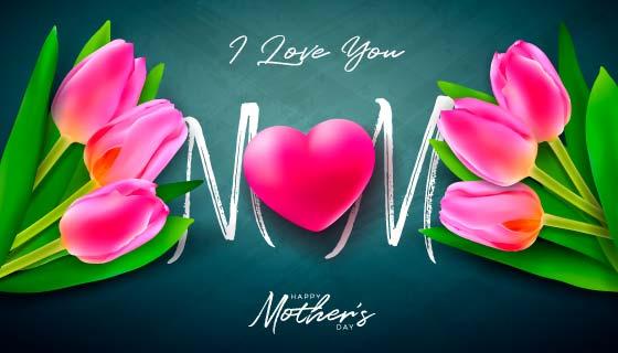 漂亮的花卉和爱心设计母亲节矢量素材(EPS)