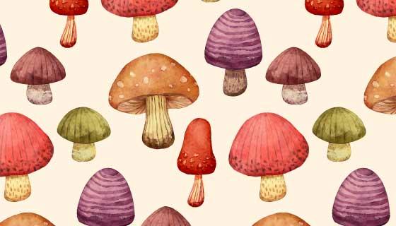 手绘蘑菇图案背景矢量素材(AI/EPS)