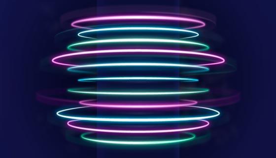 抽象的圆环霓虹灯背景矢量素材(AI/EPS)