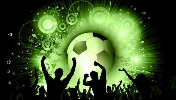 足球比赛和兴奋狂欢的人们矢量素材(EPS)