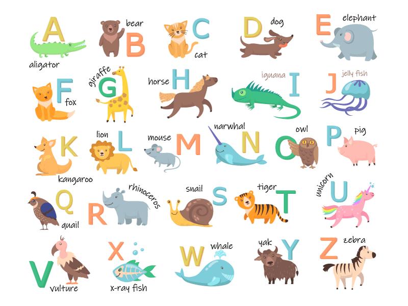 可爱的动物及其单词和开头字母矢量素材(EPS/免扣PNG)