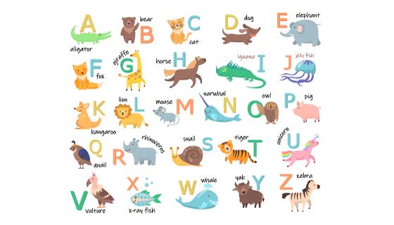 可爱的动物及其单词和开头字母矢量素材(EPS/PNG)