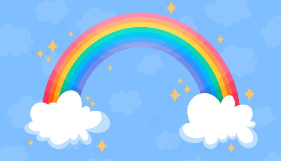 可爱的彩虹和白云矢量素材(AI/EPS)