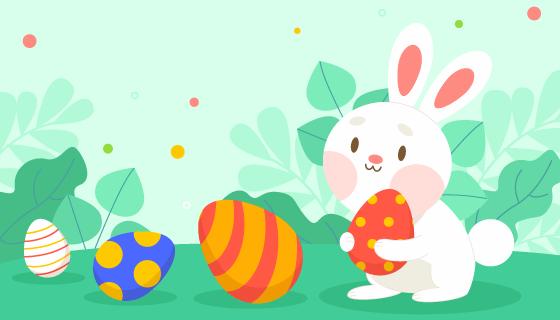 小白兔抱着彩蛋设计复活节矢量素材(AI/EPS)