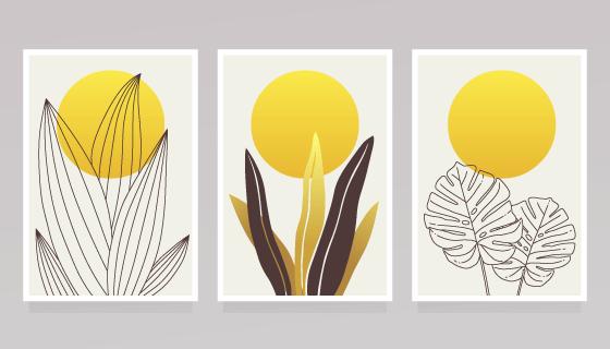 三幅创意植物和太阳设计封面矢量素材(AI/EPS)