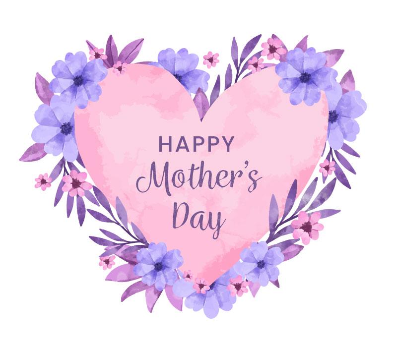 水彩花卉爱心设计母亲节快乐矢量素材(AI/EPS)