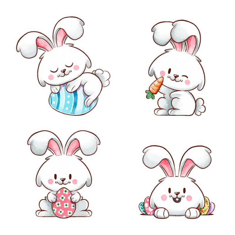 可爱的复活节兔子矢量素材(AI/EPS/免扣PNG)