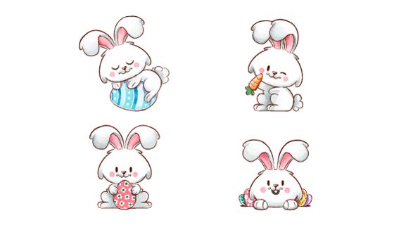 可爱的复活节兔子矢量素材(AI/EPS/PNG)