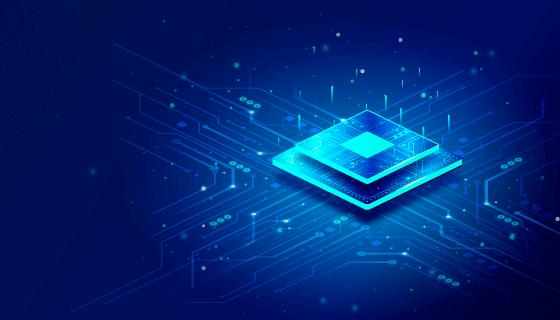 蓝色芯片科技背景矢量素材(AI/EPS)