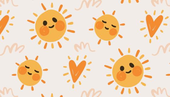 手绘太阳图案矢量素材(AI/EPS)