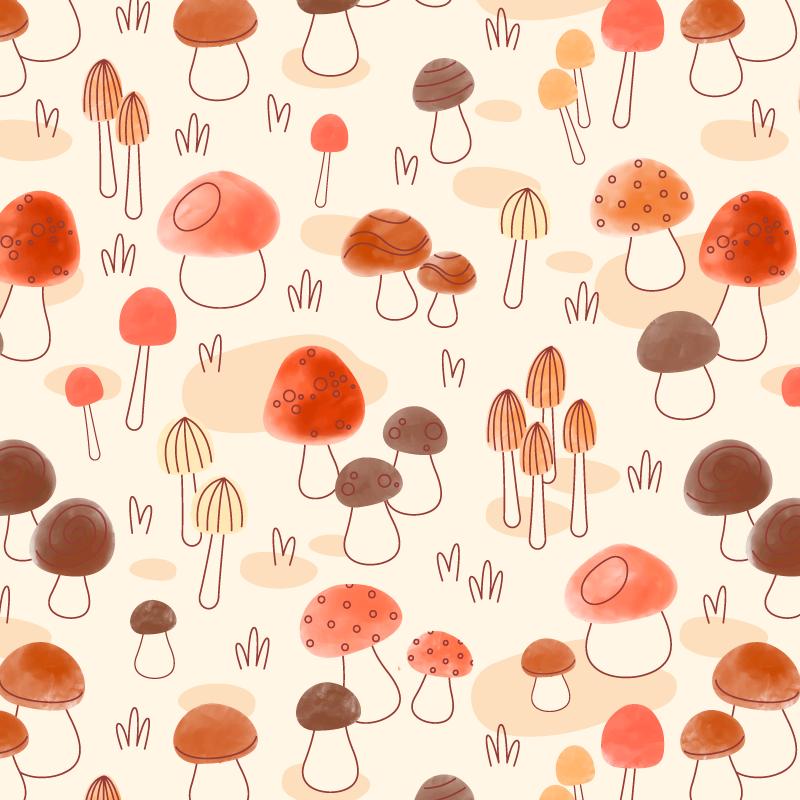 手绘蘑菇图案无缝背景矢量素材(AI/EPS)