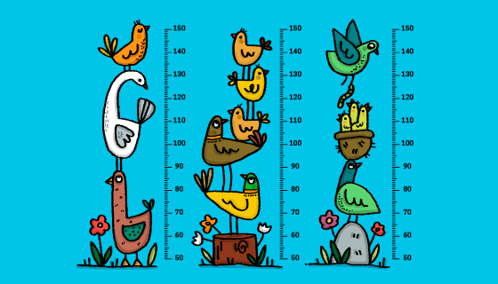 手绘动物设计宝宝量身高贴纸矢量素材(AI/EPS)