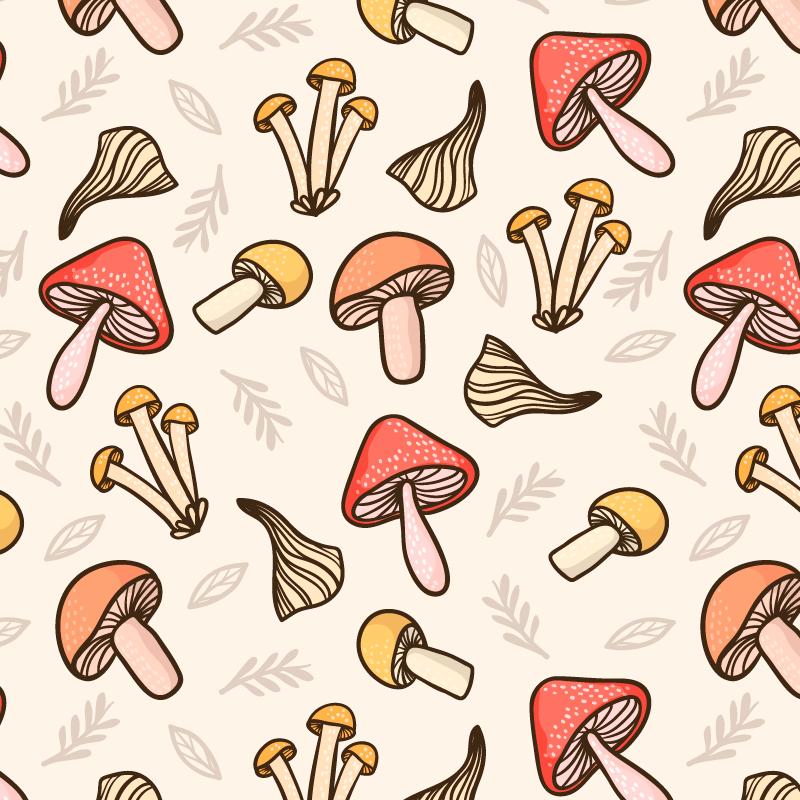 蘑菇图案无缝背景矢量素材(AI/EPS)