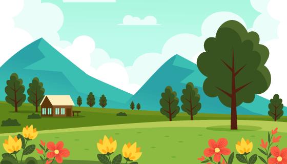 漂亮的春天景色矢量素材(AI/EPS)
