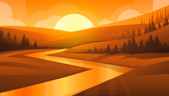 山谷里的日落景色矢量素材(EPS)