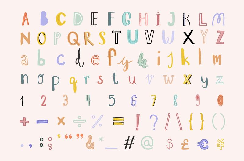 手绘可爱的字母数字和标点符号矢量素材(EPS/免扣PNG)