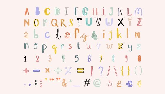 手绘可爱的字母数字和标点符号矢量素材(EPS/PNG)