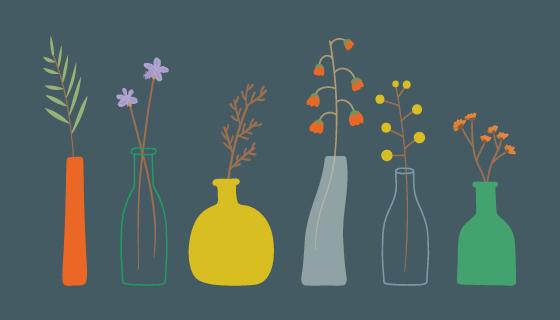 手绘花卉花瓶图案矢量素材(EPS)
