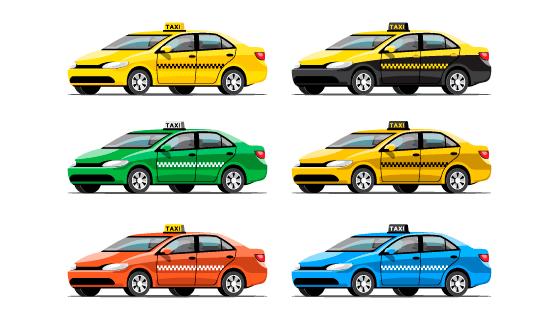 不通颜色的出租车矢量素材(EPS)
