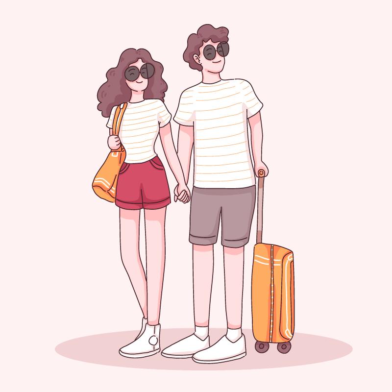 年轻的夫妇拿着行李箱手拉手去旅游矢量素材(EPS)