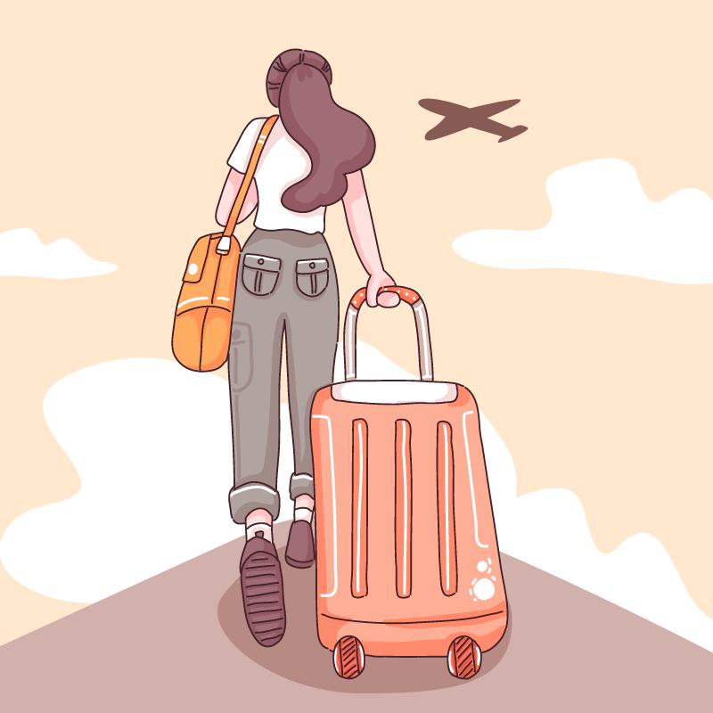 拉着行李箱准备去旅游的女子矢量素材(EPS)