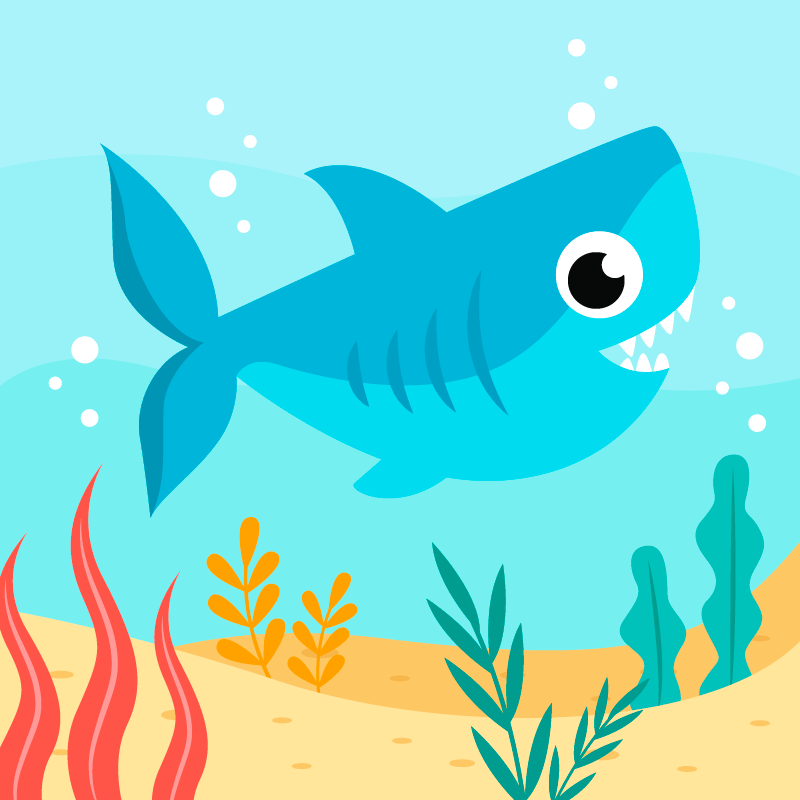 海底里游泳的小鲨鱼矢量素材(AI/EPS)