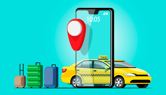 手机在线叫车智能出行矢量素材(EPS)
