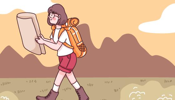 女子背着背包拿着地图徒步旅行矢量素材(EPS)