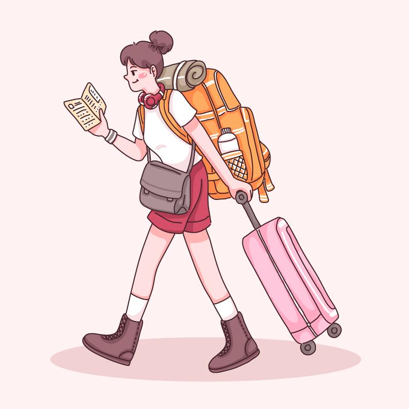 女子背着背包拉着行李箱去旅游矢量素材(EPS)
