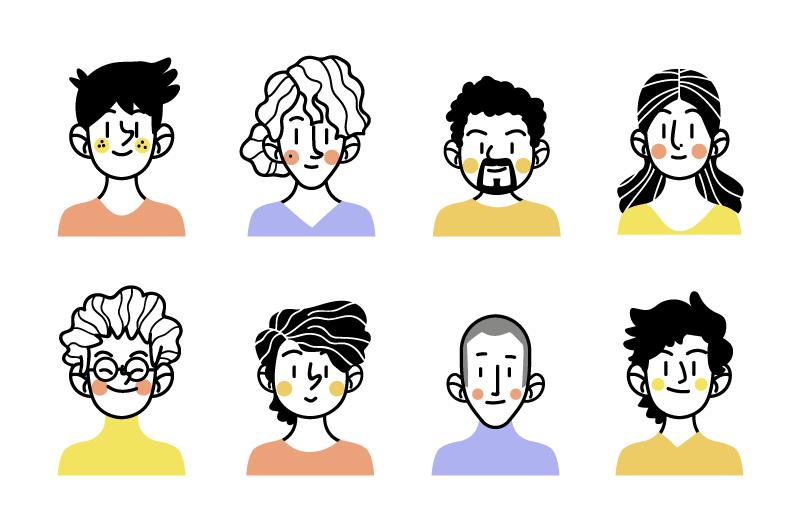 八个涂鸦风格的人物头像矢量素材(AI/EPS/免扣PNG)
