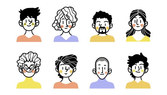 八个涂鸦风格的人物头像矢量素材(AI/EPS/PNG)