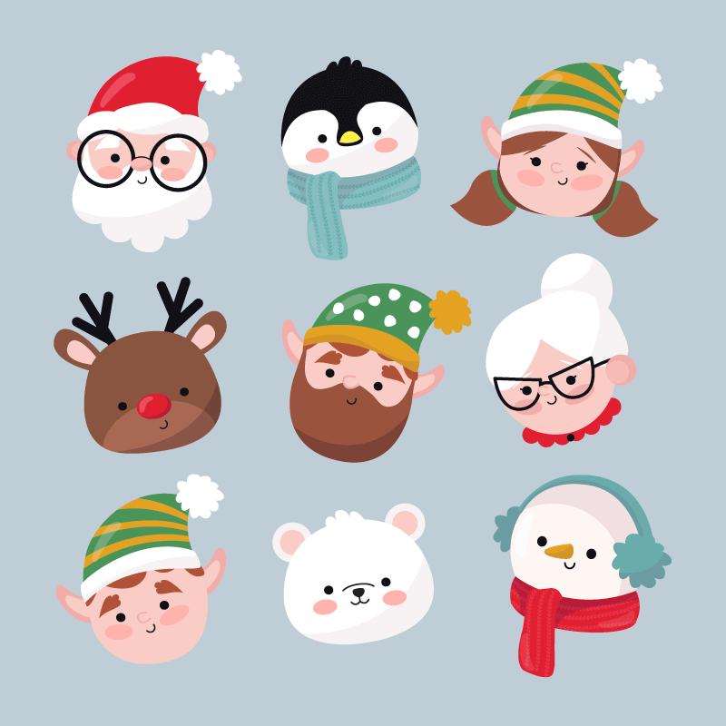九个可爱的圣诞人物头像矢量素材(AI/EPS/免扣PNG)