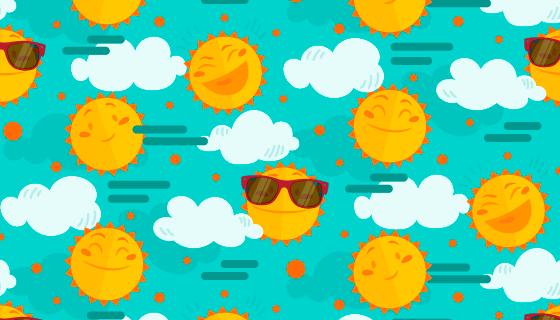 带着墨镜微笑和大笑的太阳背景矢量素材(AI/EPS)