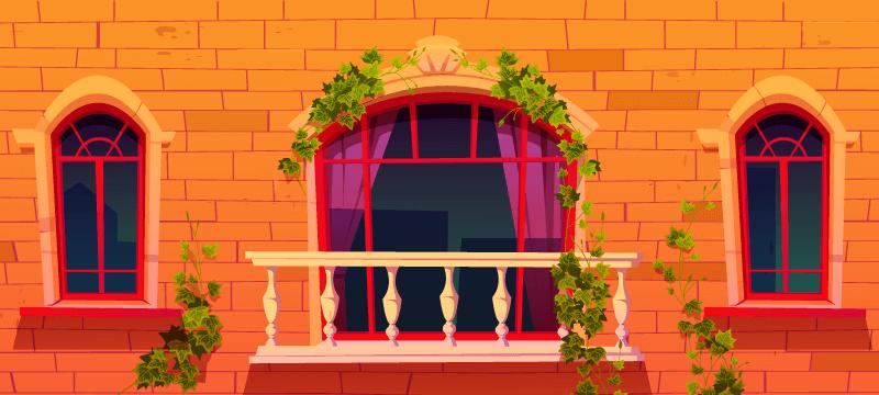 阳台和阳台上的藤叶矢量素材(EPS)