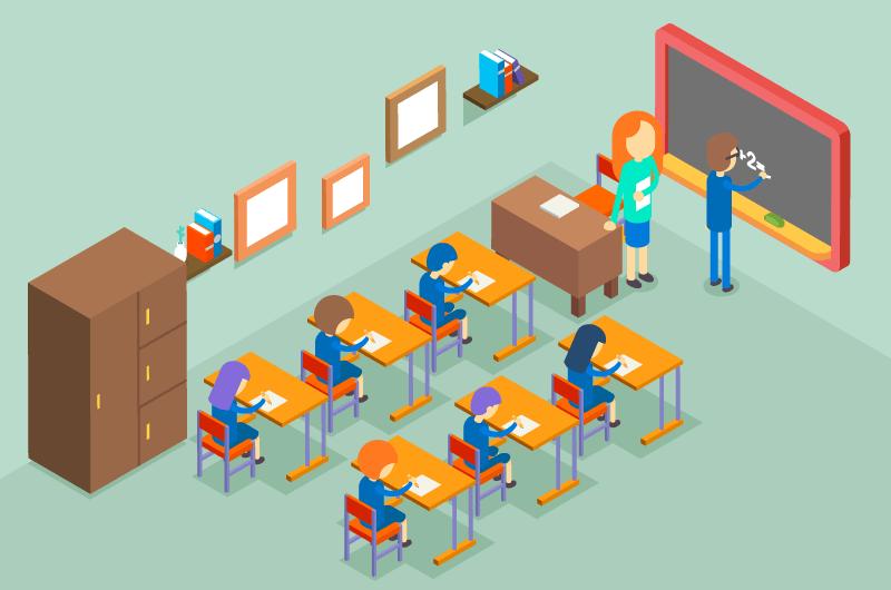 教室里上课的老师和学生矢量素材(EPS)