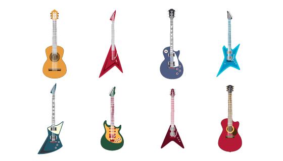 八种不同的吉他电吉他矢量素材(EPS/PNG)