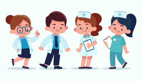 卡通可爱的医生和护士矢量素材(AI/EPS/PNG)