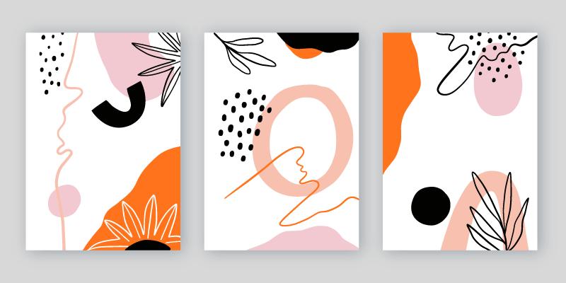 三张抽象形状的封面矢量素材(AI/EPS)