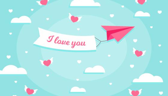 纸飞机拉着横幅情人节背景矢量素材(AI/EPS)