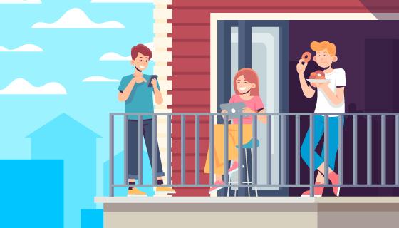 在阳台上休闲活动的人们矢量素材(AI/EPS)
