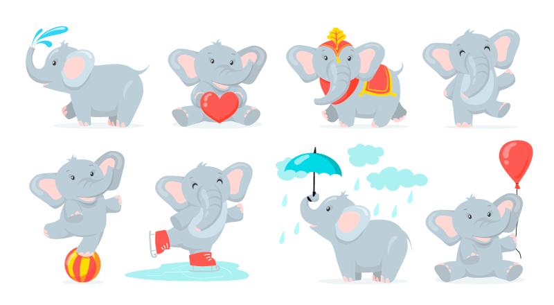 正在玩耍的小象矢量素材(EPS)