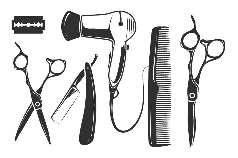 理发店理发工具矢量素材(EPS/免扣PNG)
