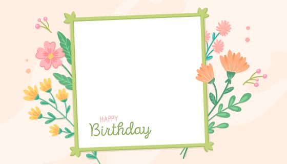 漂亮花卉设计的生日相框矢量素材(AI/EPS)