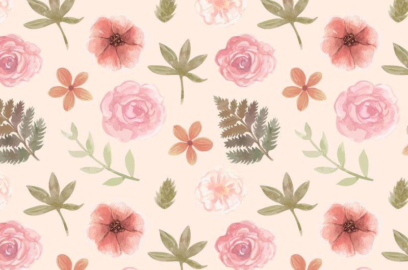 水彩风格花朵叶子图案背景矢量素材(AI/EPS)