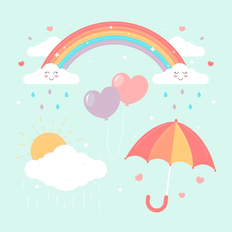 可爱的彩虹太阳云朵矢量素材(AI/EPS)
