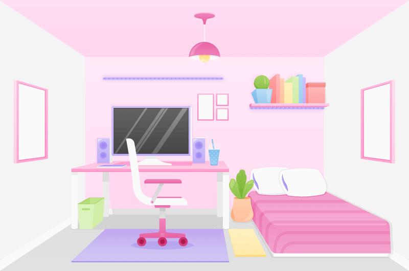 粉色系的个人卧室矢量素材(AI/EPS)
