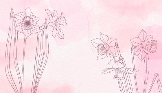 手绘花卉粉色水彩背景矢量素材(AI/EPS)