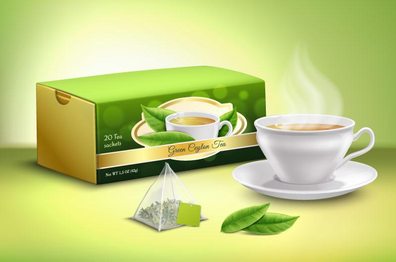 逼真的绿茶包装广告设计矢量素材(EPS)